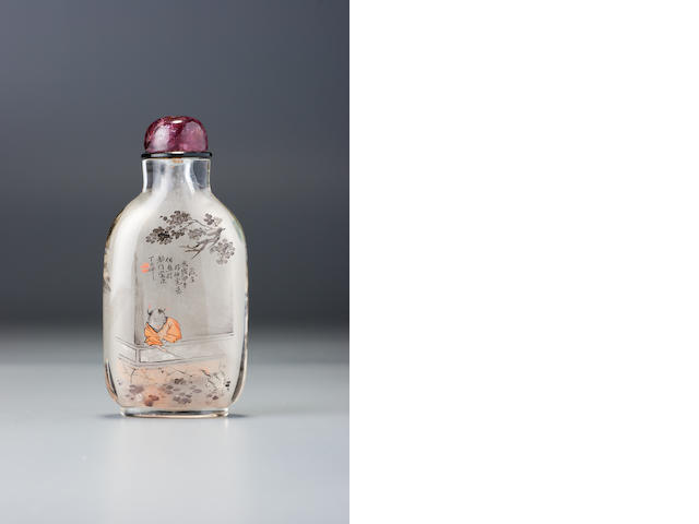 An inside-painted glass 'teasing the crane' snuff bottle Ding Erzhong, Xuannan, Beijing, dated 1894