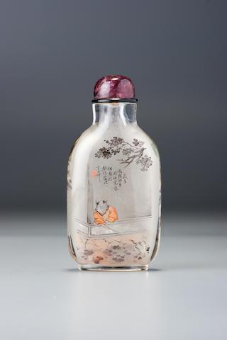 An inside-painted glass 'teasing the crane' snuff bottle Ding Erzhong, Xuannan, Beijing, dated 1894