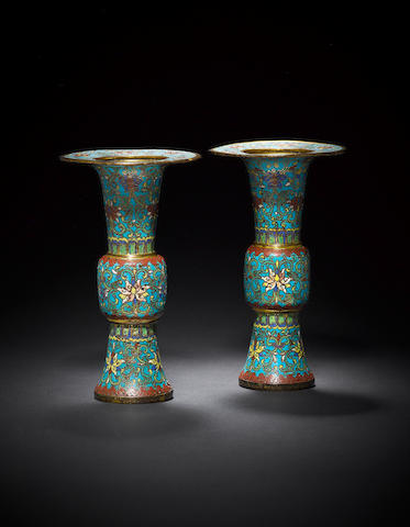 A pair of cloisonné-enamelled and gilt-bronze vases, gu Qing dynasty