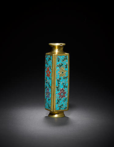 A small four-sided cloisonné-enamelled and gilt-bronze vase, cong Ming dynasty, incised Jingtai four-character mark