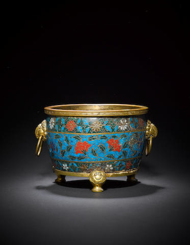 A cloisonné-enamelled and gilt-bronze 'bombé' incense burner Ming dynasty, Jingtai four-character mark
