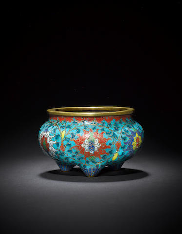 A cloisonné-enamelled and gilt-bronze incense burner Qing dynasty, Jingtai four-character mark