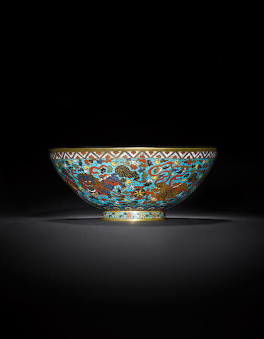 A cloisonné-enamelled and gilt-bronze 'Buddhist lion' bowl Mid Ming dynasty