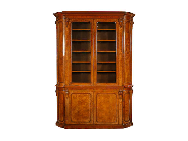 A good Victorian figured walnut and marquetry bookcase