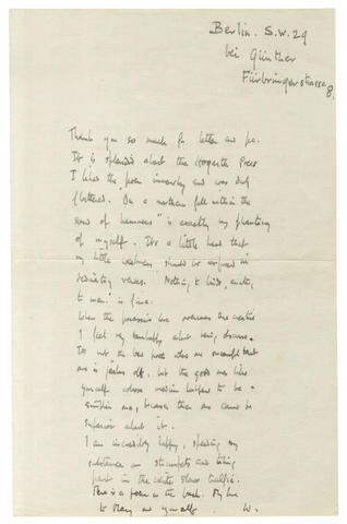 AUDEN (W.H.) Autograph manuscript of his poem 'A Free One', on the reverse of an autograph letter signed to C. Day-Lewis, [?March 1929]