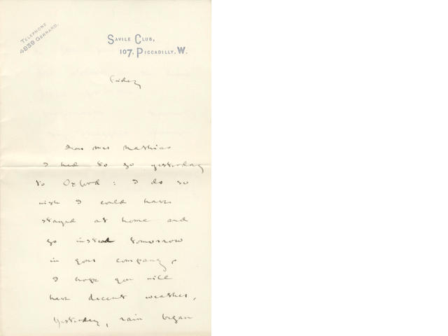 BEERBOHM (MAX) Three autograph letters signed, undated; and the final page of another (4)