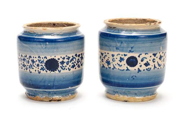 A pair of Italian maiolica small albarelli, first half 16th century