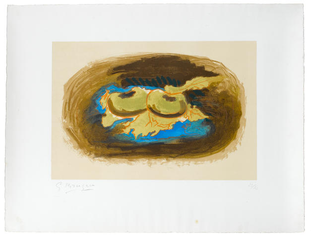 Georges Braque (French, 1882-1963) Pommes et Feuilles Lithograph, 1958, printed in colours, on Arches, signed and numbered 22/30 in pencil, one of thirty proofs, aside from the edition of 75, printed and published by Mourlot, Paris, 305 x 450mm (12 x 17 3/4in)(I) unframed