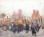 Greville Irwin (British, 1893-1947) The King's Company Grenadier Guards, escort to the colour