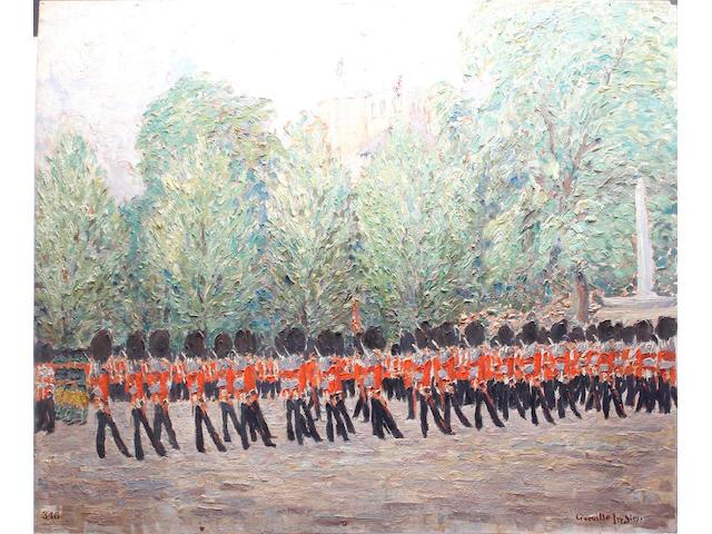 Greville Irwin (British, 1893-1947) The King's Company Grenadier Guards, escort to the colour