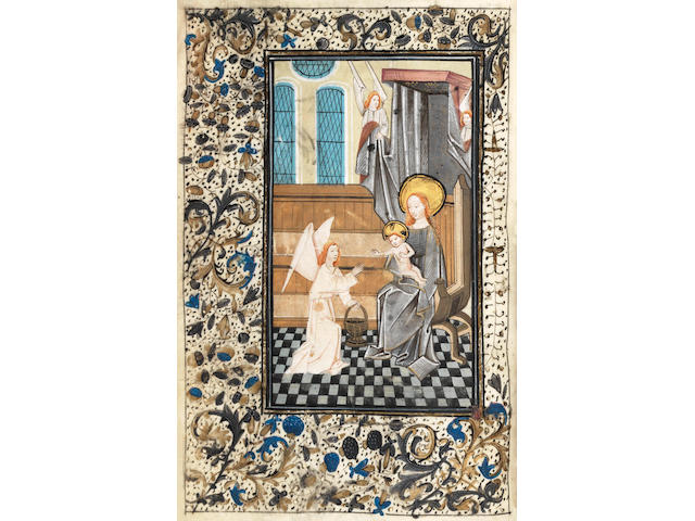 ILLUMINATED BOOK OF HOURS, use of Rome, in Latin.  Illuminated manuscript on vellum, [Flanders, probably Bruges, c.1460-75]