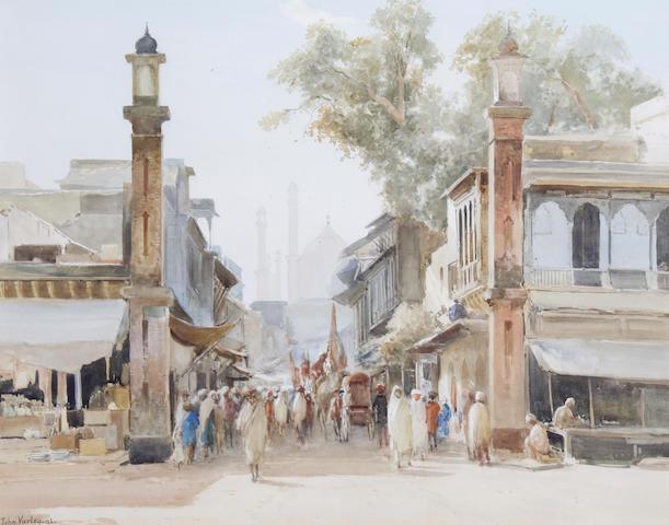 John Varley Jnr. (British, 1850-1933) A busy Cairo street scene