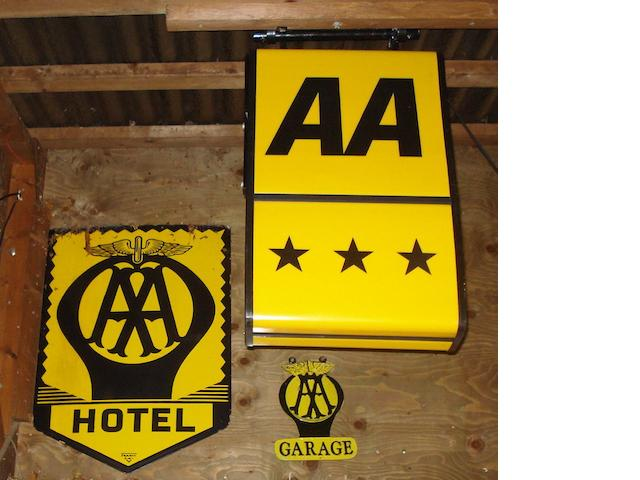 Three AA signs,
