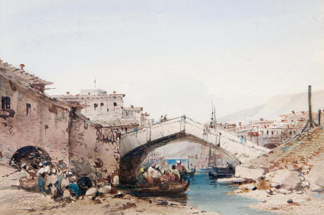 Anton Schranz Jnr. (Maltese, 1801-circa 1865) Figures in a boat by a bridge
