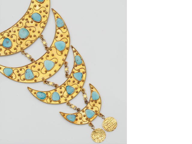 An Eastern turquoise plaque necklace