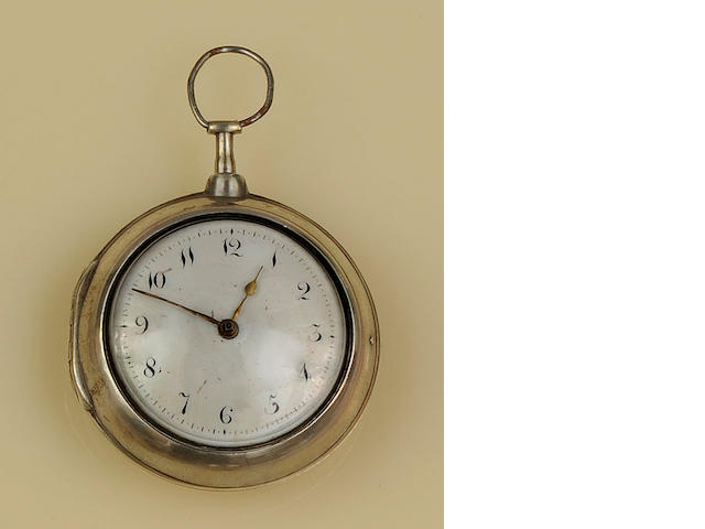 A George III silver pair cased verge pocket watch