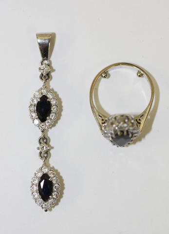 A suite of sapphire and diamond jewellery (2)