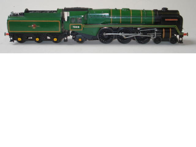 Hand built electric Britannia class 4-6-2 'Flying Dutchman' locomotive No.70018 and tender