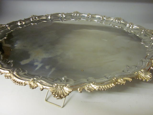 A large oval tea tray,  by Roberts and Belk,  Sheffield 1977,