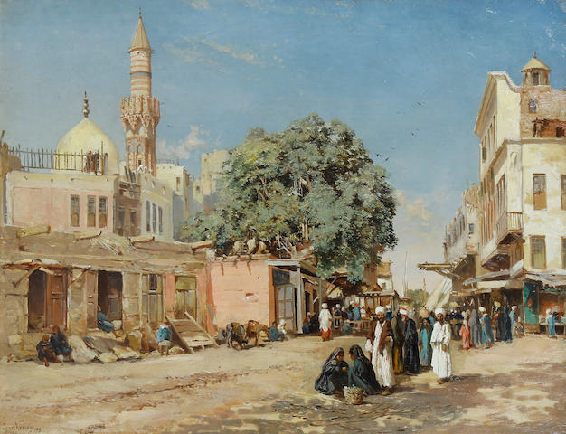 John Varley Jnr. (British, 1850-1933) The market place, Boulac, Cairo