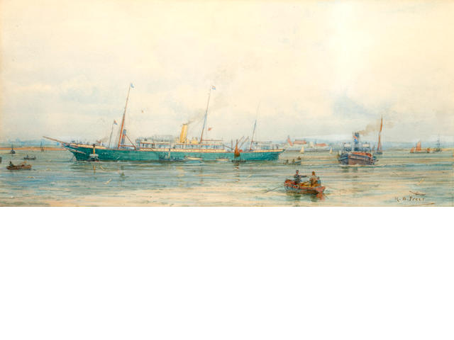 Henry Branston Freer (British, active 1870-1900) A green hulled ship at anchor