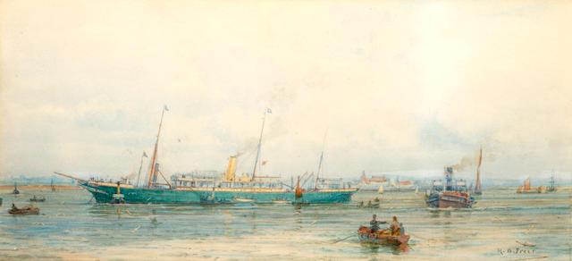 Henry Branston Freer (British, active 1870-1900) A green hulled ship at anchor