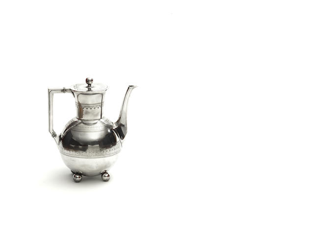 James Dixon & Sons a Metal Coffee Pot influenced by Christopher Dresser, circa 1880