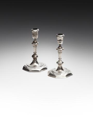 A pair of George I Irish cast silver candlesticks, by John Hamilton, Dublin 1719,  (2)