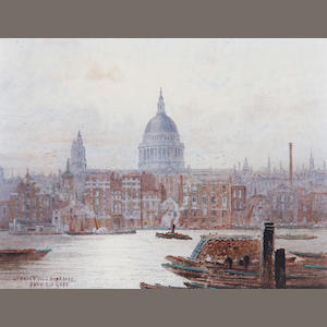 Frederick Edward Joseph Goff (British, 1855-1931) St Paul's from Bankside