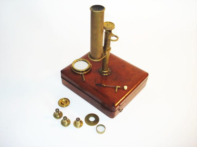 A Gould type compound microscope, English,  circa 1830,
