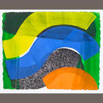 Howard Hodgkin (British, born 1932) Put Out More Flags Lift-ground etching and aquatint, with carborundum in colours, with hand colouring in cadmium orange, cobalt blue and cadmium yellow egg temmpera, 1992, on Two Rivers paper mill, Watchet, Somerset, signed with initials, dated and numbered 36/75 in pencil, published by the Modern Art Museum of Fort Worth, Texas, printed and hand coloured by Jack Shirreff at the 107 Workshop, the full sheet printed to the edges, 420 x 524mm (16 1/2 x 20 5/8in)(SH)