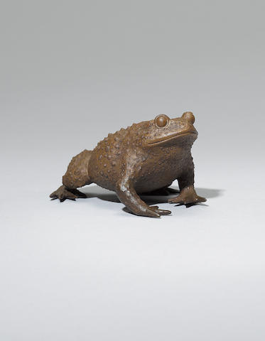 An Yixing stoneware model of a toad Early Qing dynasty, signed Chen Mingyuan