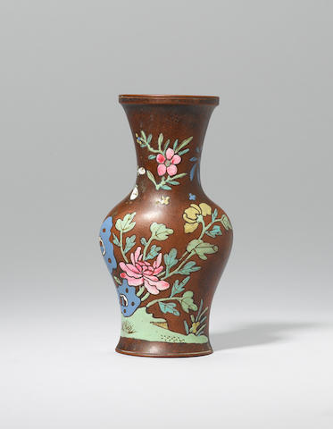 An Yixing stoneware famille rose wall vase Mid Qing dynasty