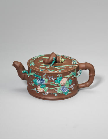 An Yixing stoneware 'famille-rose' enamelled 'bamboo' teapot and cover Daoguang