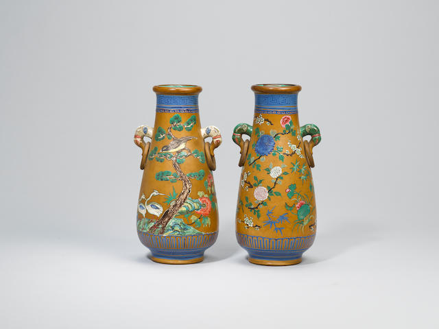 A pair of Yixing stoneware enamelled vases Daoguang