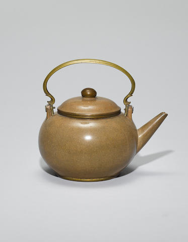 An Yixing stoneware polished teapot and cover Late Qing dynasty