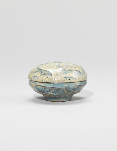 An Yijun stoneware lotus-shaped box and cover Late Ming dynasty