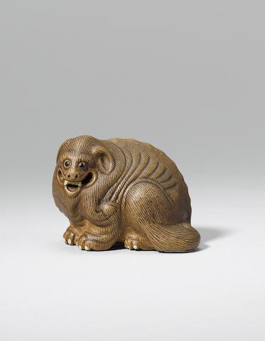 An Yixing stoneware model of a mythical beast Qianlong