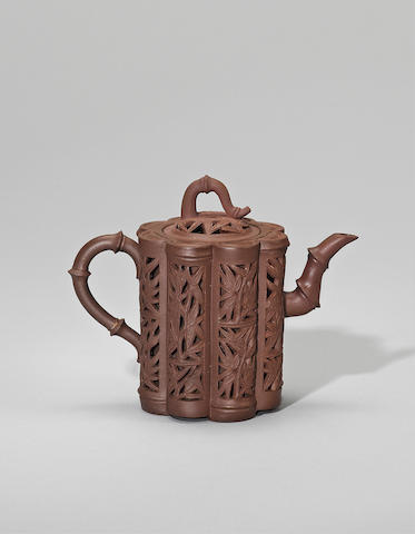 An Yixing stoneware reticulated 'bamboo' teapot and cover Mid Qing dynasty
