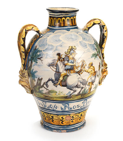 A large Neapolitan maiolica pharmacy jar from the San Martino Cloister in Naples, dated 1702