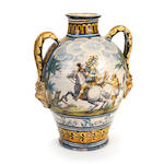 A large Neapolitan maiolica two-handled albarello from the San Martino Cloister in Naples, dated 1702