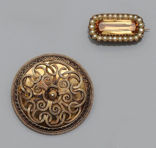 A 19th century topaz and half pearl set rectangular brooch (3)