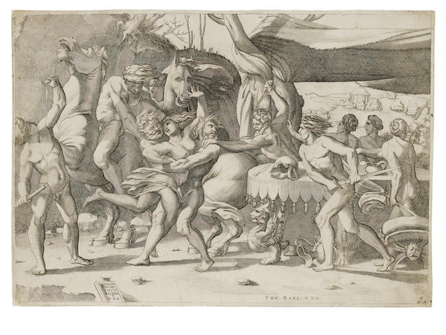 A Collection of Old Master engravings Three works by Enea Vico (1523-1567) including the 'Battle of the Laptiths and the Centaurs', 1542,  after R.Fiorentino, seven works of biblical and mythological subjects and a portrait by Giulio Bonasone, four mythological figures and two scenes with Cupid by  Odoardo Fialetti after Pordenone, 294 x 419mm (11 1/2 x 16 1/2in)(PL)(and smaller)     Coll unframed
