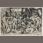 Marco Dente (Italian, born circa 1493-1527) A collection of engravings Two impressions of 'Allegory of Death and Fame: The Skeletons' after Rosso Fiorentino (B425), one a later impression, 'The Rape of Helen' (B210) after G.Rossi, 'St Michael slaying the dragon', on laid, 281 x 426mm (11 x 16 3/4in)(PL)(and smaller) 4 unframed
