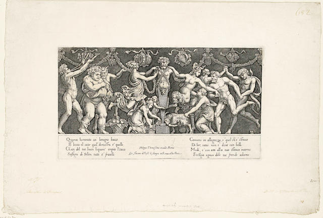A Collection  Nine engravings by the Master of the Die, consisting of two impressions of 'Sacrifice to Priapus' and seven mythological scenes, together with four engravings of gods and goddesses and the Holy Family by Giacomo Caraglio, on laid, 188 x 288mm (7 3/8 x 11 3/8in)(PL)(and smaller) Coll unframed