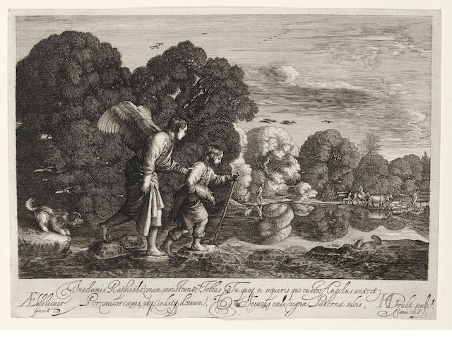 Hendrik Goudt (Utrecht 1583-1648) Tobias carrying the fish, walking with the Angel Engraving, 1608, after Adam Elsheimer,  a good impression, on laid, trimmed to platemark, 134 x 186mm (5 1/4 x 7 1/4in)(PL) unframed