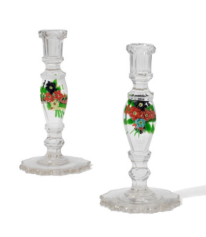 A pair of Russian paperweight candlesticks, early 20th century
