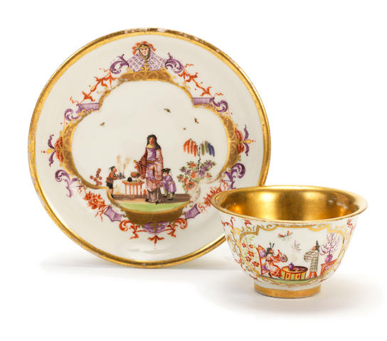 A Meissen cup and a Meissen saucer circa 1725-30