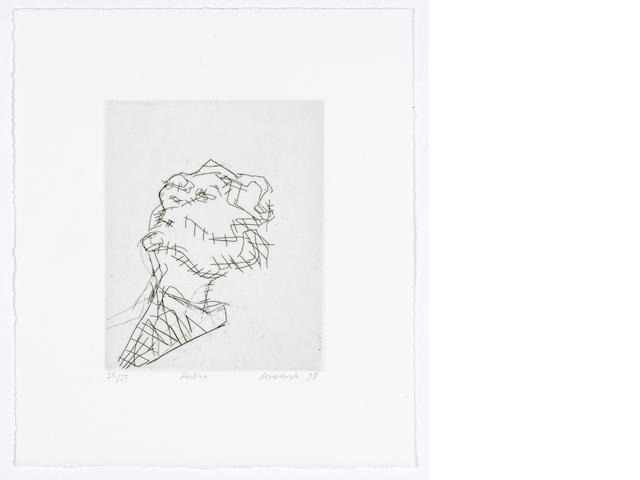 Frank Auerbach (British, born 1931) Reclining Head of Julia Etching printed with tone, 1998, on wove, signed, titled, dated and numbered 25/35 in pencil, with full margins, printed by Mark Balakjian at Studio Prints, London, published by Marlborough Fine Art, London, 155 x 125mm (6 1/8 x 4 7/8in)(PL)(unframed)