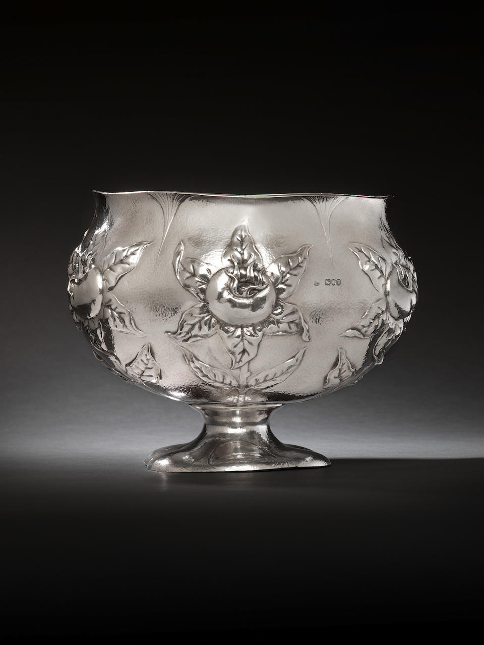 """An Edwardian silver hand wrought Arts & Crafts bowl by Gilbert Marks, London 1901, with incuse engraved facsimile signature """"Gilbert Marks"""" over """"1901"""","""
